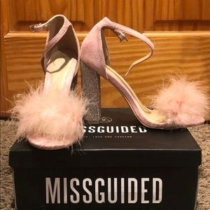 Missguided Shoes - Missguided Glitter and Feather Block Heel
